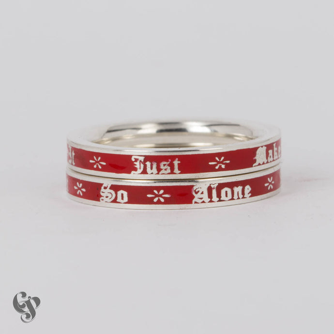 Sterling Silver Bukowski Double Stacking Rings with Red Enamel Background