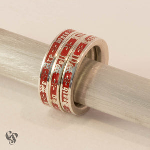 Sterling Silver Bukowski Triple Stacking Ring with Red Enamel Background
