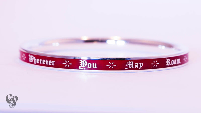 Sterling Silver Tom Waits Bangle with Red Enamel Background
