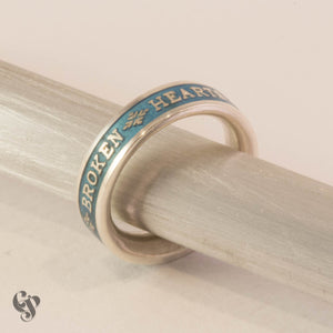 Sterling Silver Frank Zappa Ring with Blue Enamel Background
