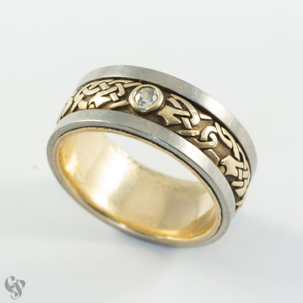 Norse Engraved Wedding Ring with Diamond and Titanium detail