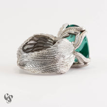 """Wings Of Desire"" Palladium and Rectangular Cushion Cut Green Stone Ring"