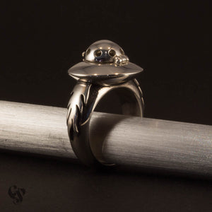 Sterling Silver UFO Poison Ring with Flames