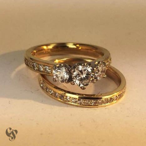 Recycled Yellow Gold and Diamond Engagement and Wedding Ring Pair
