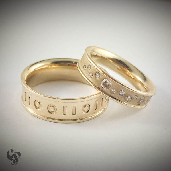 Recycled Yellow Gold and Diamonds Wedding Ring pair with Binary Code Detail