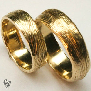Recycled Yellow Gold Cuttlefish Cast Wedding Ring Pair
