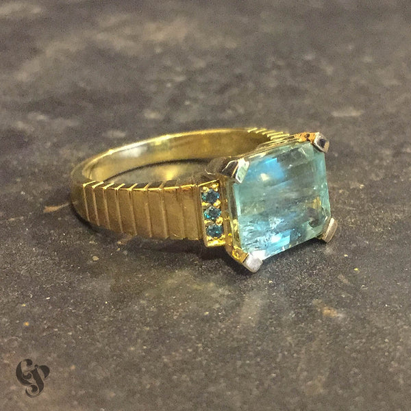 Recycled Yellow Gold Emerald and Green Diamond Ring