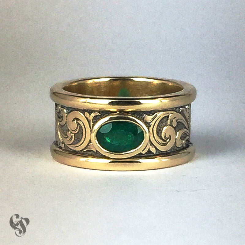 Recycled Yellow Gold Hand Engraved Emerald Ring