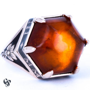 Rose Gold, Black Enamel and Amber Memorial Ring