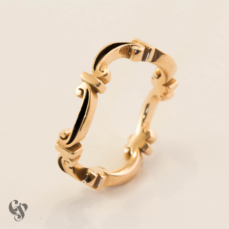 Rose Gold Medieval Enamel Scroll Ring