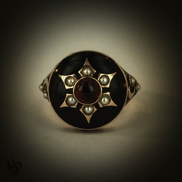 Rose Gold, Black Enamel, Garnet and Seed Pearl Memorial Ring