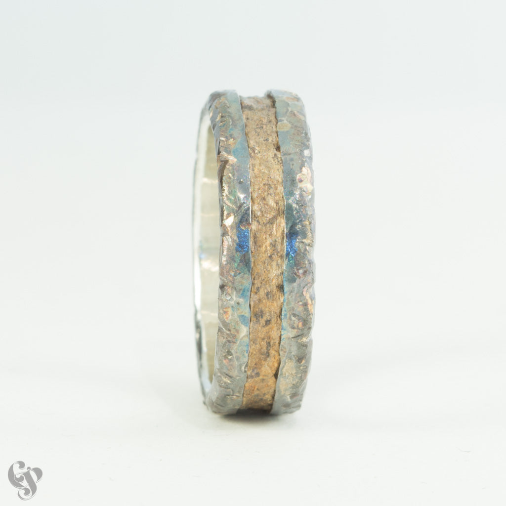 Silver and Bronze Steampunk Wedding Ring