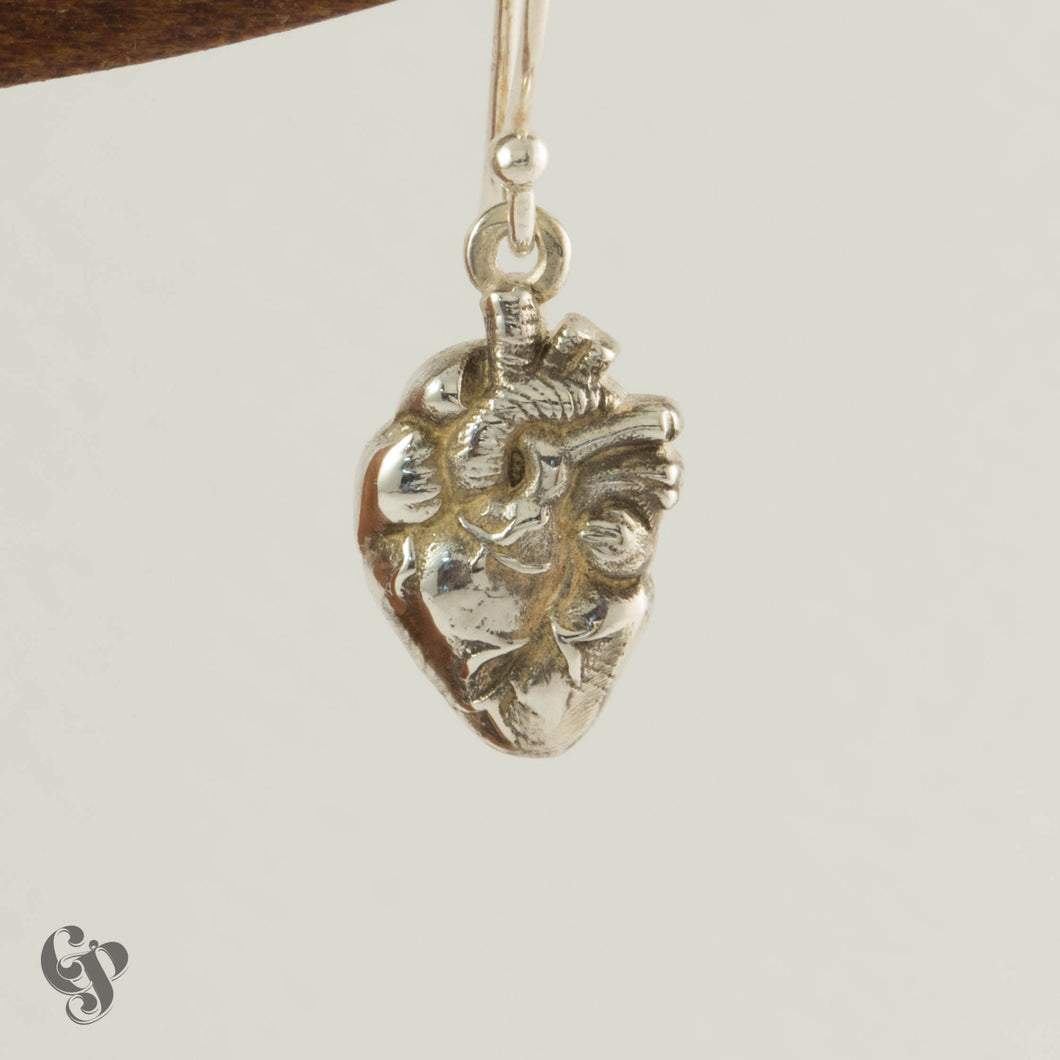 Sterling Silver Anatomical Heart Drop Earrings