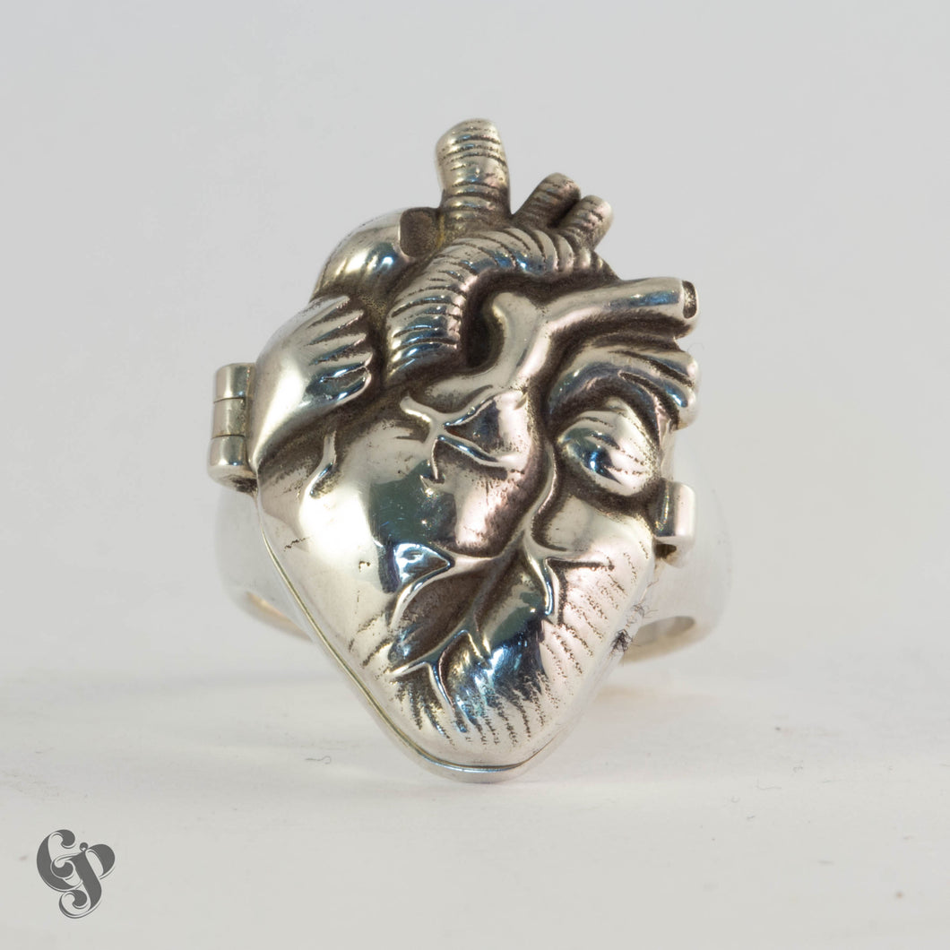 Sterling Silver Anatomical Heart Poison Ring with Red Enamel Interior