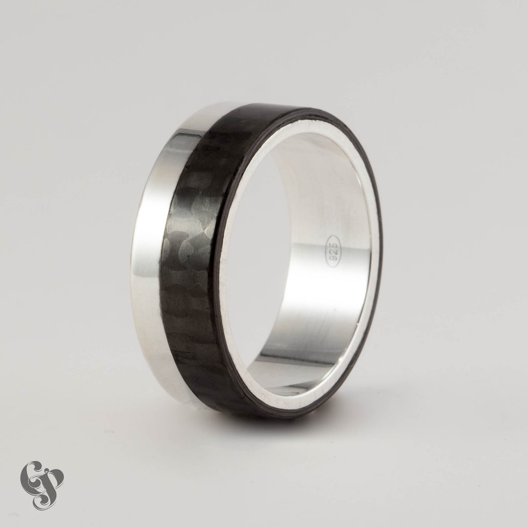 Carbon Fibre and Sterling Silver Two Tone Wedding Ring