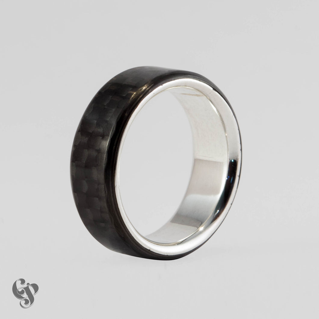 Carbon Fibre and Sterling Silver Wedding Ring