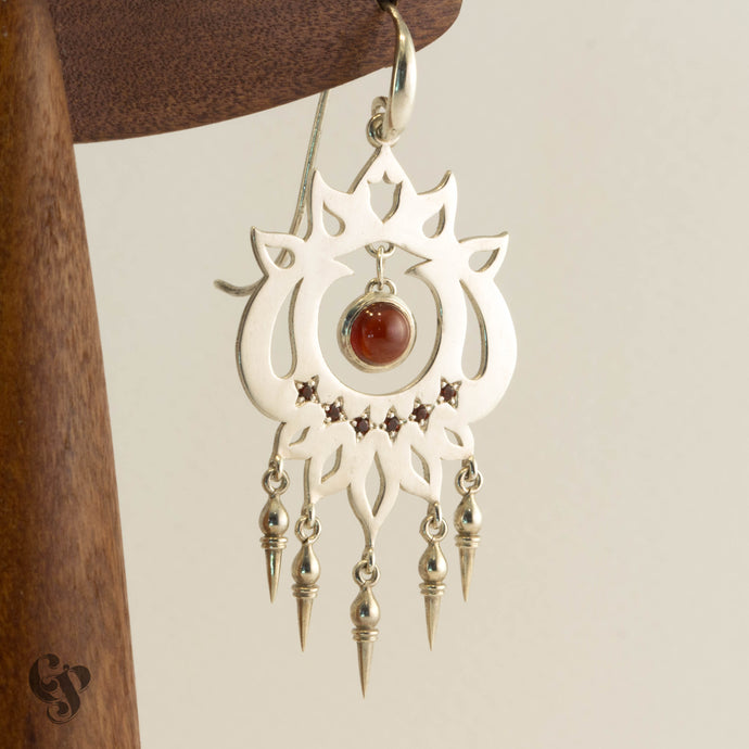 Sterling Silver and Garnet Gypsy Earrings