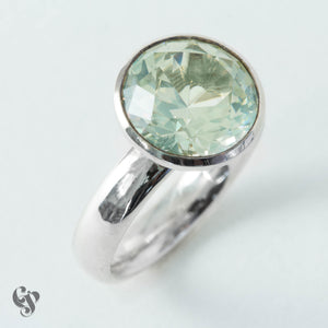 Sterling Silver Brilliant Cut Green Quartz Ring