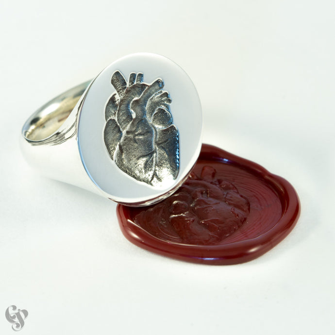 Sterling Silver Anatomical Big Heart Wax Seal Ring