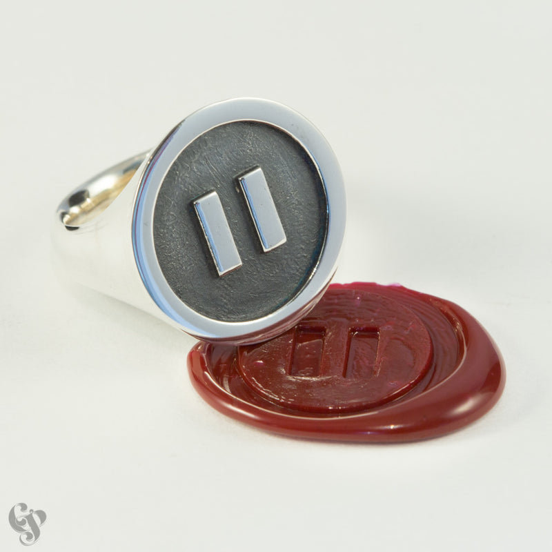 Sterling Silver Pause Wax Seal  Ring