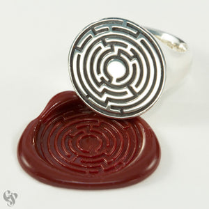 Sterling Silver Hedge Maze Wax Seal  Ring
