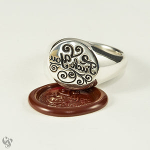 "Sterling Silver Wax Seal Simple ""Fuck You"" Ring"
