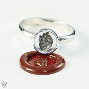Sterling Silver Wax Seal Anatomical Heart Ring