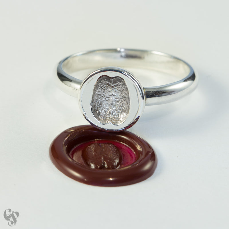 Sterling Silver Wax Seal Brain Ring