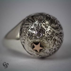 Sterling Silver Topographical White Moon Map Ring with Star