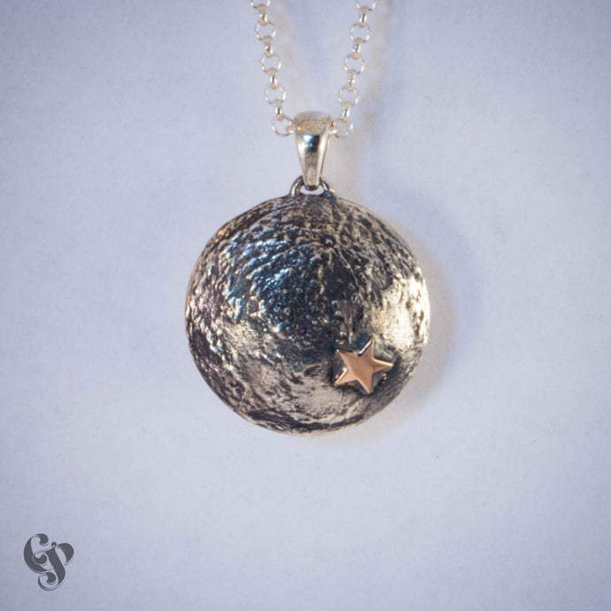 Sterling Silver Topographical Moon Map Pendant with Stars