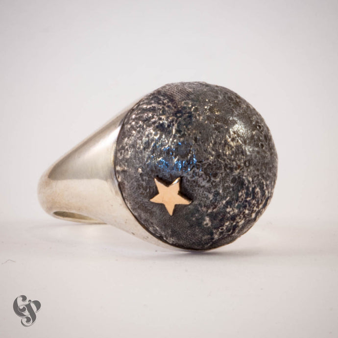 Sterling Silver Topographical Black Moon Map Ring with Star