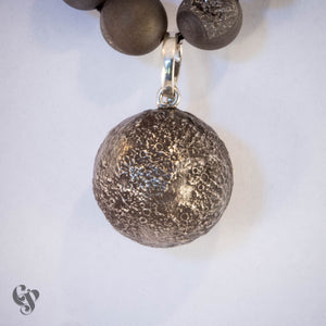 Sterling Silver Topograhical Moon Map Pendant on Grey Druzy Strand