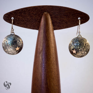 Sterling Silver Topographical Moon Map Earrings with Stars
