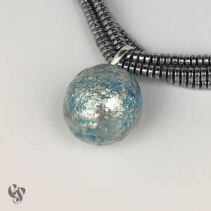Sterling Silver Topographical Full Blue Moon Map Pendant on Triple Haematite Strand