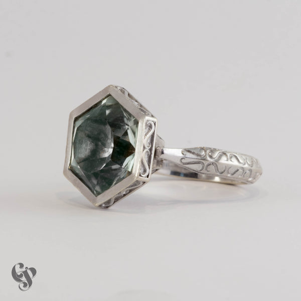 """Titania"" White Gold and Green Quartz Ring"
