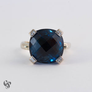 White Gold Cushion Cut London Blue Topaz Ring with Diamond Set Claws