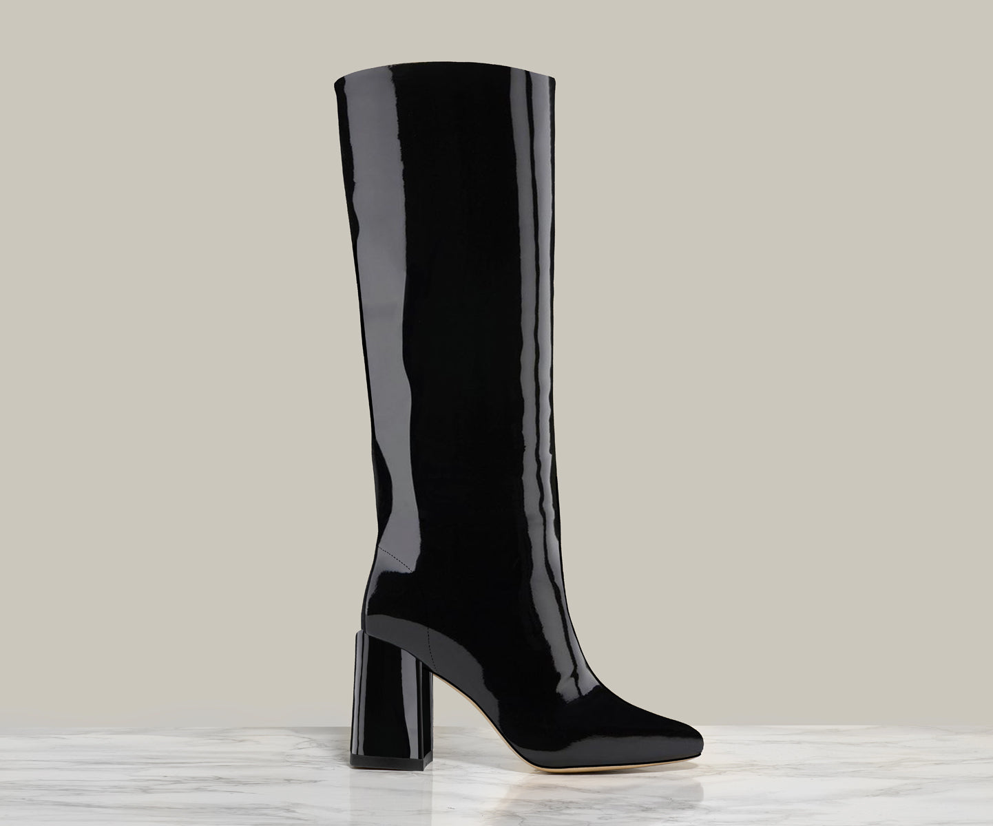 BO KNEE BOOT, Black Patent