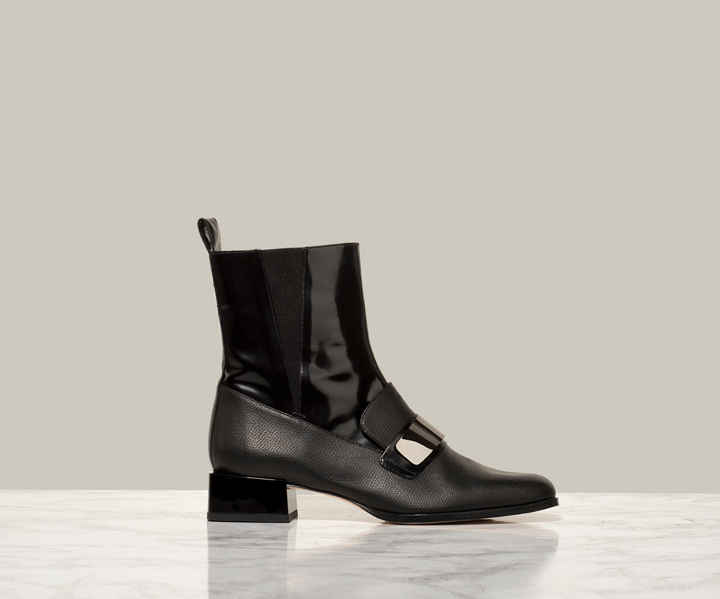TUX LOAFER BOOT, Black Grain