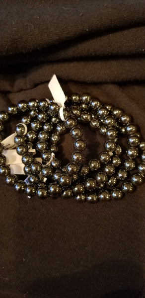 Bracelets - Gemstone - Hematite 8mm Bead bracelet fits up to 8 in
