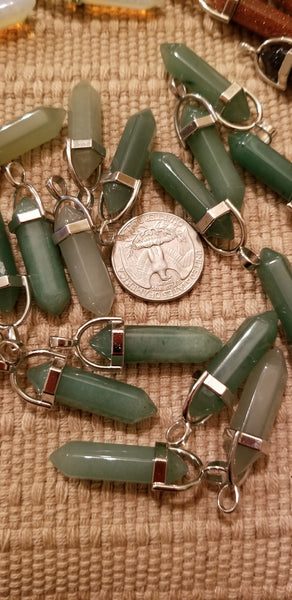 Pendants - Aventurine Pendant necklace on 925 silver plated chain