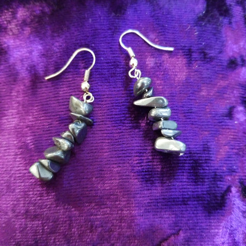 Earrings- Hematite Chip Earrings
