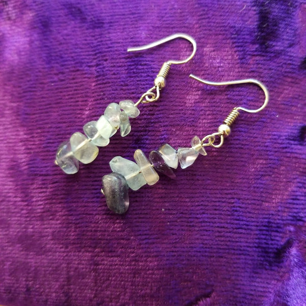 Earrings- Rainbow Flourite Chip Earrings
