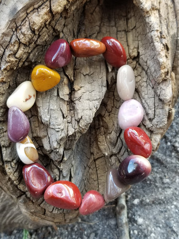 Bracelets - Gemstone - Mookaite Nugget bracelet fits up to 8 in