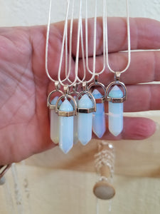 Pendants - Opalite Pendant necklace on 925 silver plated chain