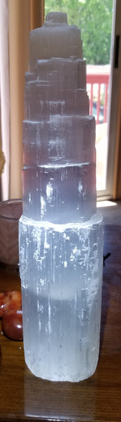 Selenite Skyscraper Lamp with cord & bulb 16 in tall