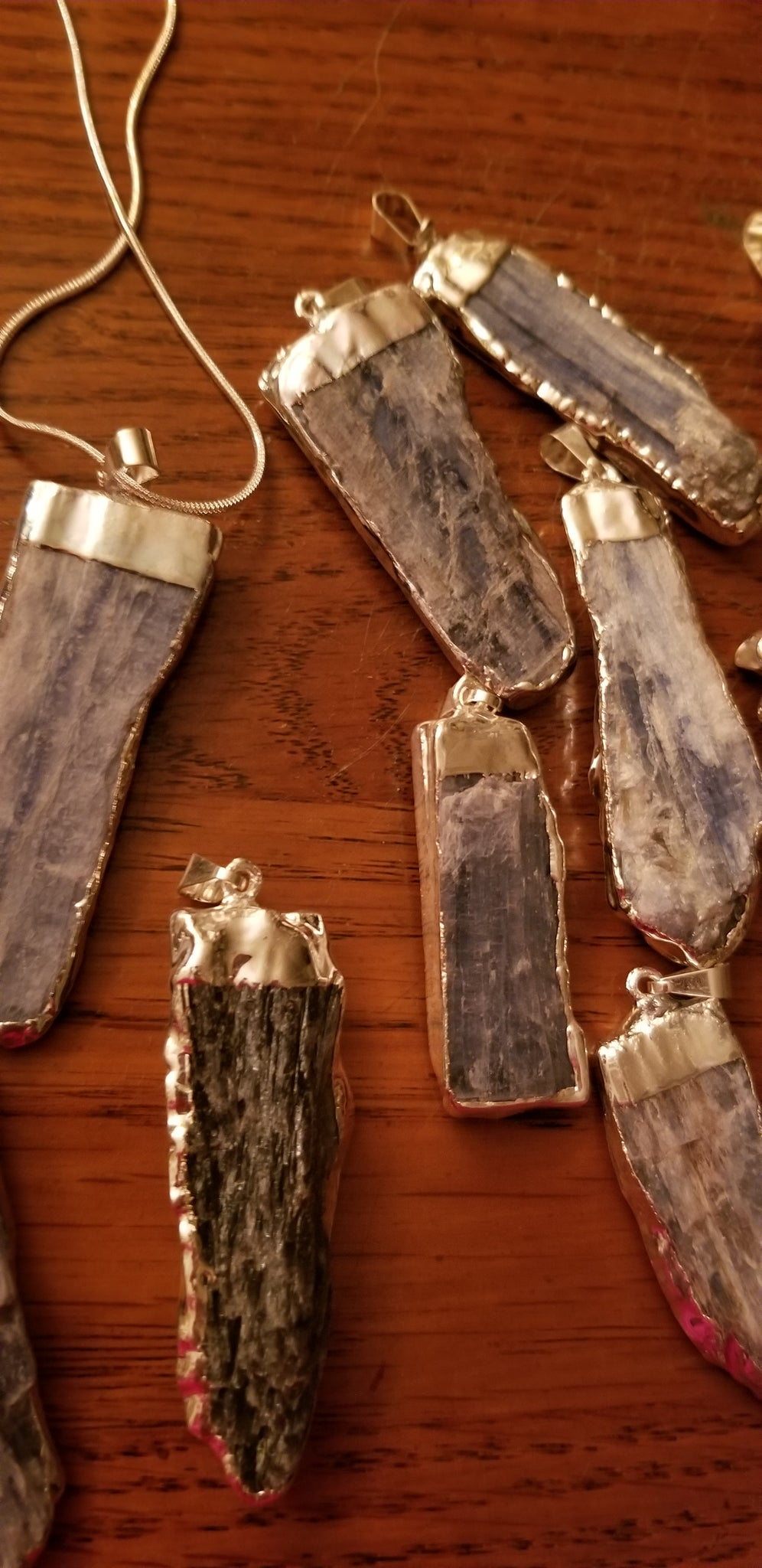 Pendants- Blue Kyanite Silver Electroplated Pendant on 925 silver chain (random pull)