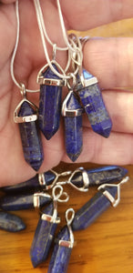 Pendants- Lapis Lazuli Pendant on 925 silver plated chain