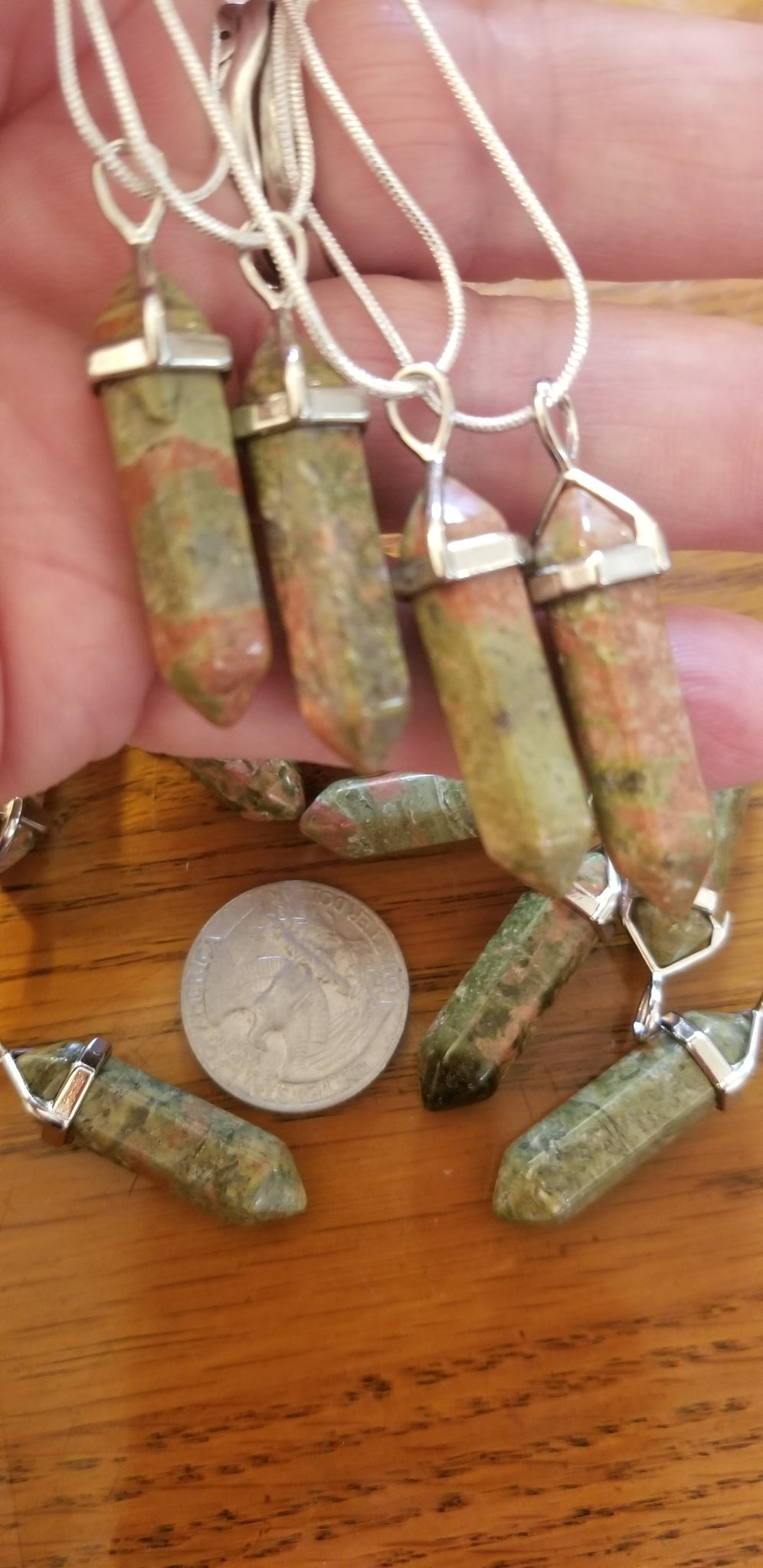 Pendants- Unakite Pendant on 925 Silver Plated Chain