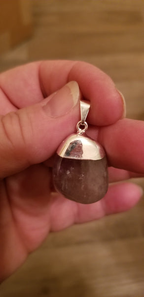 Pendants- Amethyst tumble with polished silver bail pendant on 925 silver plated chain ( random pull)