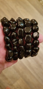 Bracelets - Gemstone - Black Obsidian Nugget bracelet fits up to 8 in